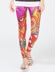 Multicolor Dragon Print Legging