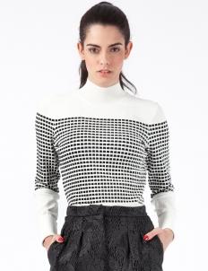 White Multi Small Inbox Turtleneck Sweater