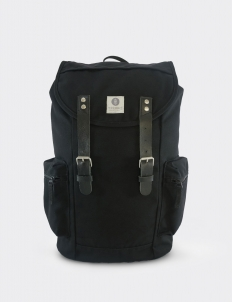 Liam Black Black Leather Backpack