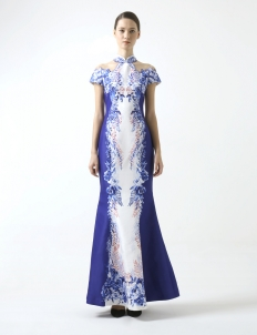 Blue Rose Printed Gown With Sleeve