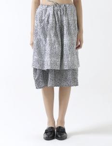 A-line Skirt Tumpuk Kotak Sawah Hitam