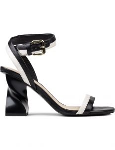Elzpeth Combo Leather Ankle Strap Heel