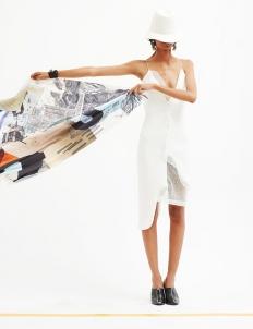 Sheer Neoprene Ruffle Dress