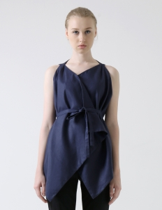 Dark Blue Wrap Short Vest