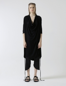 Black Unisex Draped Top