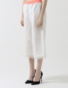 White Palazzo Silk Cropped Pants