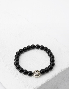 Prestige Black Onyx with Silver Signature Head Bracelet
