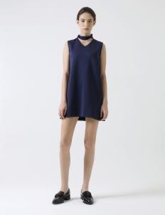 Navy Choker Mini Dress