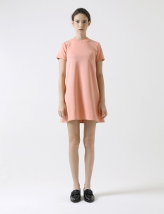 Peach Round-Neck Mini Dress