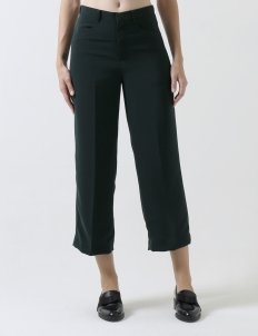 Green Crepe Cropped Pants