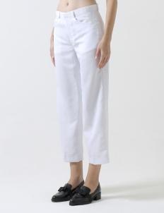 White Cotton Cropped Pants