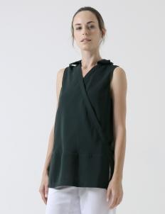 Green Crepe Sleeveless Shirt