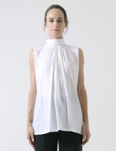 White Cotton Hi-Neck Sleeveless Top