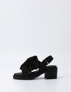 Black Double Strap Ruffle Shoes