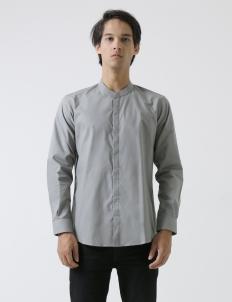 Gray Collarless Shirt