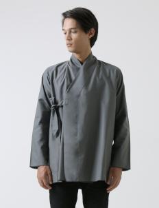 Gray Unfinished Kimono Shirt