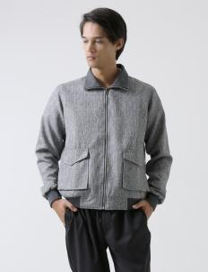 Gray Tartan Bomber Jacket