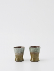 White and Light Brown Espresso cup (Set of 2)