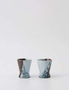 Light Blue and Brown Espresso cup (Set of 2)