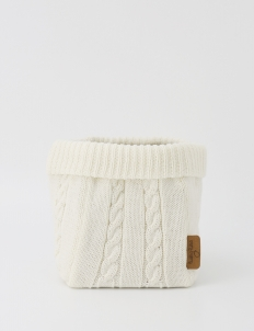 Off White Knitted Large Storage Basket