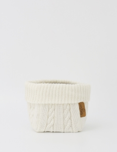 Off White Knitted Medium Storage Basket