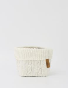 Off White Knitted Medium Storage Basket