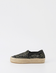 Black & Gold Eppa Lace Espadrilles