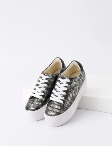 Silver Cara Croc Embossed Sneaker
