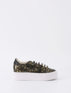 Gold Cara Croc Embossed Sneakers
