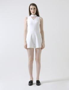 Detachable Choker Jumpsuit in White