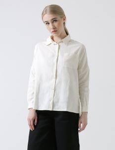 Off White Oversized Linen Shirt