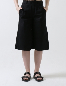 Black Basic Cotton Cullote Trouser