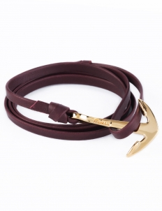 Burgundy Gold Anchor On Leather Bracelet
