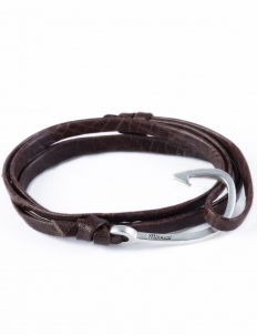 Mojave Brown Silver Hook On Leather Bracelet