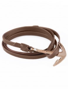 Brown Rose Plated Anchor On Leather Bracelet