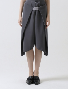 Dark Gray Wrap Culottes