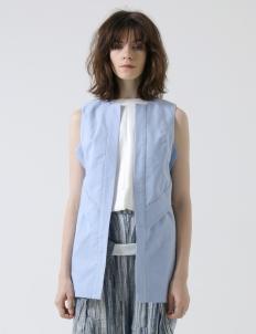 Blue Unravel Sleeveless Jacket