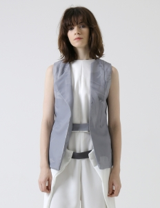 Gray Envelop Sleeveless Jacket