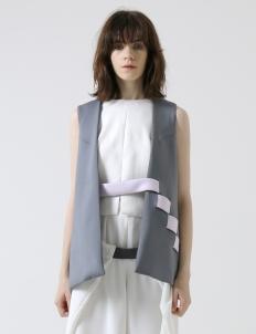 Gray Notch Sleeveless Jacket