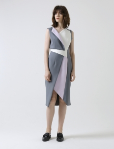 Gray & White Vinculum Dress