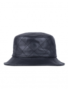 Black Leather Quilted Bucket Hat