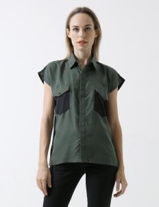 Dark Green Olive Backless Shirt