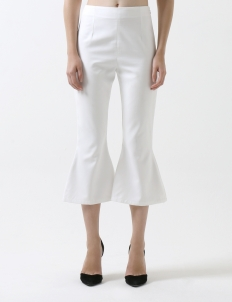 White Cropped Flare Pants