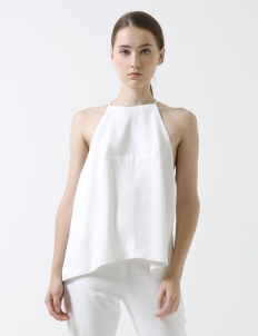 White Halter Cut Out Crepe Top