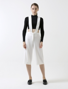 White Badgley Overall Culotte