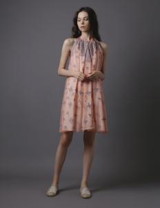Coral Organza Embroidery Midi Dress