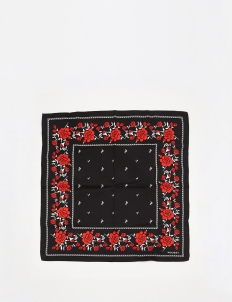 Black Rose Silk Bandana Scarf