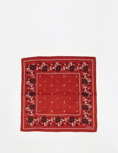Red  Rose Silk Bandana Scarf