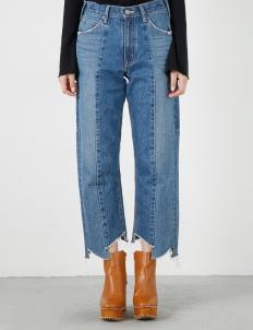 Blue Random Cut Wide Straight Pants