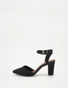Black Pointed Toe Strap Pumps